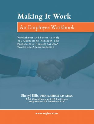 The Making It Work employee workbook cover is blue, with a background image showing two hands in a handshake.